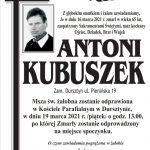 Zmarł Antoni Kubuszek z ul. Pienińskiej